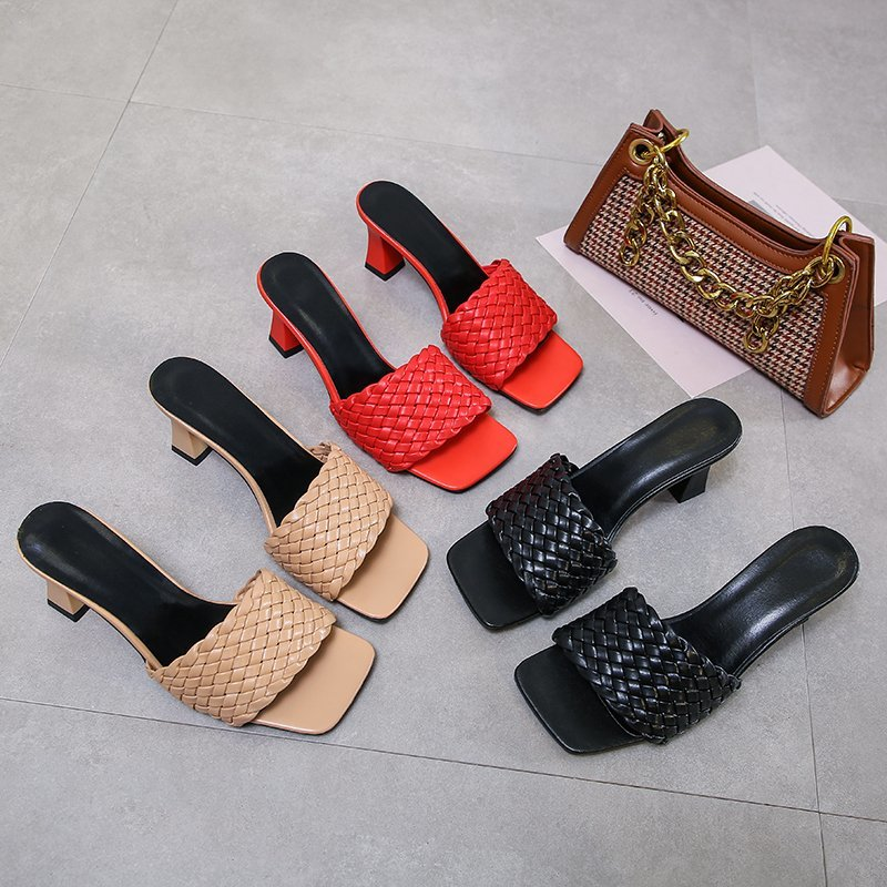 Summer 2020 new slippers ladies casual high-heeled wide-toed sandals leather woven shoes for all games holiday weekend house