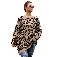 Womens leopard loose knit tops 2019 winter new S-XL plus size yellow black army pink green khaki leisure sweater feminina JD559