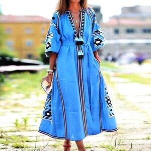 Винтажное сексуальное бальное платье с v-образным вырезом и кисточками, макси платья для женщин, лето-осень 2020, повседневные свободные длинн...