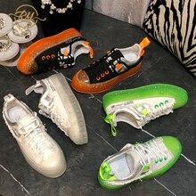 RY-RELAA women sneakers 2020 fashion Genuine Leather glitter canvas sho