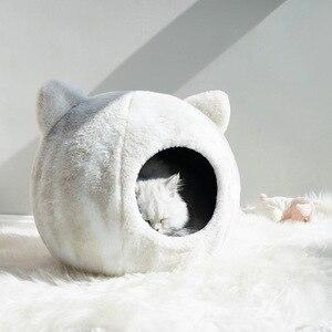 Image 2 - القطط عش سرير شتاء دافئ قطع تصميم جرو بيت حيوانات أليفة عالية الجودة الكلب سرير الحصير منزل للقطط