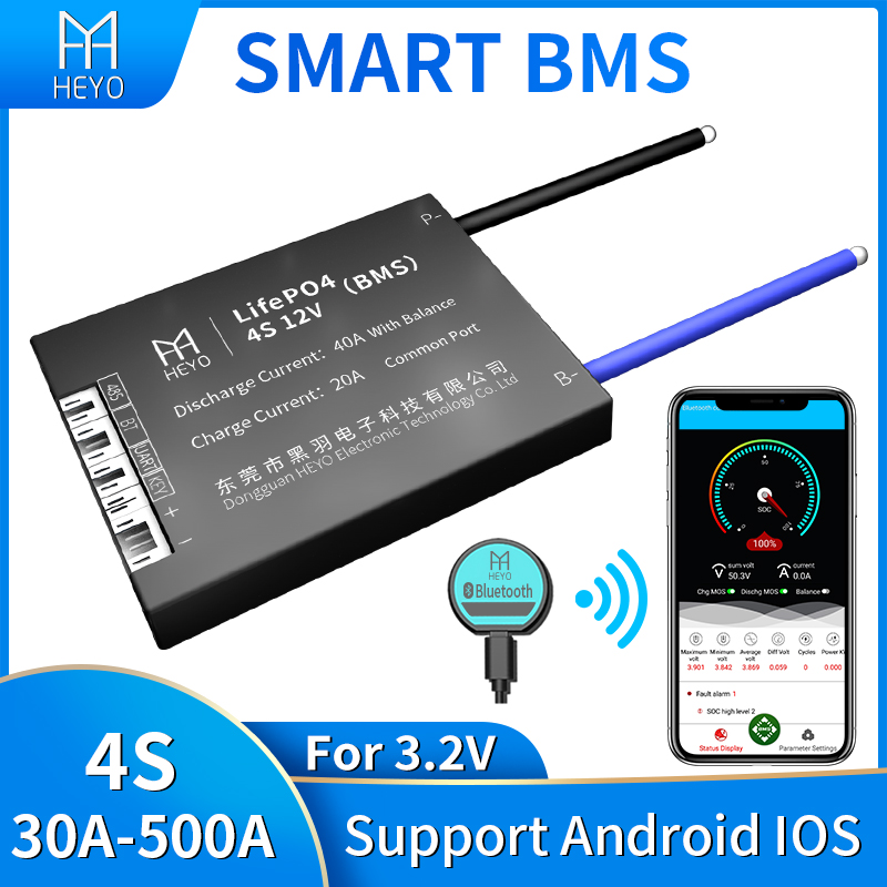 HEYO 18650 Smart 3,2 V LiFePO4 Lipo LFP 4S 12V 30A 40A 60A 80A 100A 200A 250A 300A Bluetooth GPS UART RS485 баланс батареи BMS