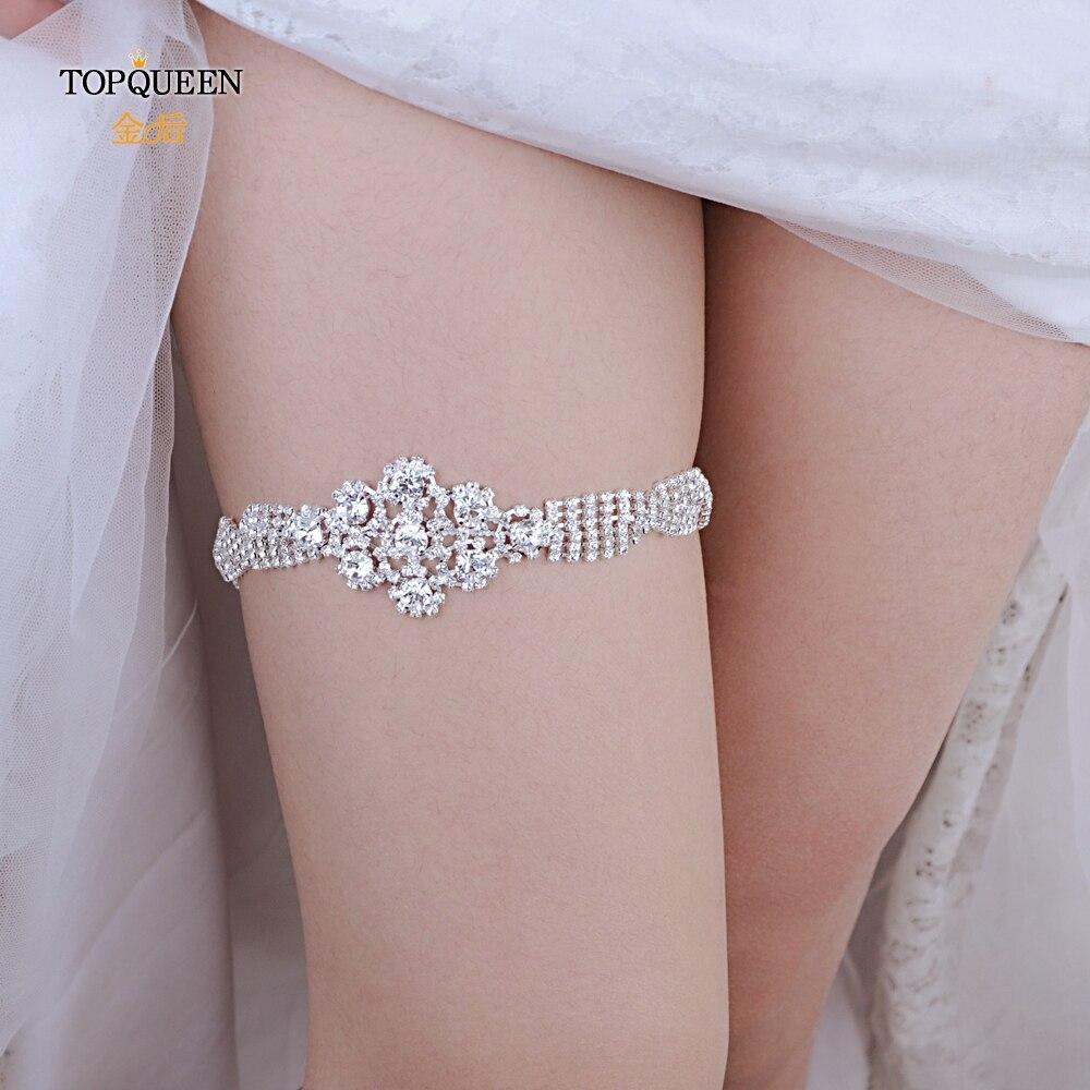 TOPQUEEN  Bridal Garters Fahion Soft Sexy Women Girl Diamond Lace Garter Leg Ring Loop Stocking Bridal Leg Garter Belt THS98