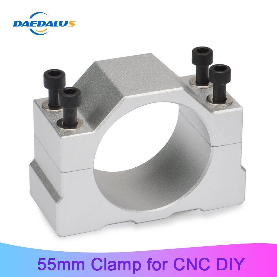 Daedalus CNC 55mm Spindle Motor Bracket 400 500W Aluminum Mold Diameter Mounting Clamp With 4pcs Screw