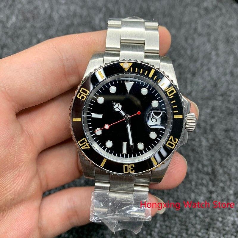 40mm Men's Automatic Mechanical Watch Yellow Black Ceramic Bezel Steel Case Sapphire Glass WristWatch No Logo Watch Men