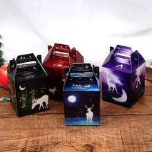 30pcs/lot Creative Cartoon Elk Pattern Luminous Packaging Gift Box Christmas Halloween Party Paper Hand