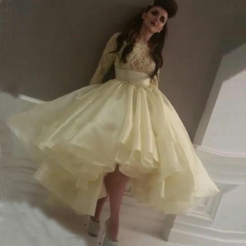 Hot Sale Chic Ball Gown Light Yellow Asymmetrical High Low Long Sleeve Prom Gowns Lace Vestido De Renda Bridesmaid Dresses