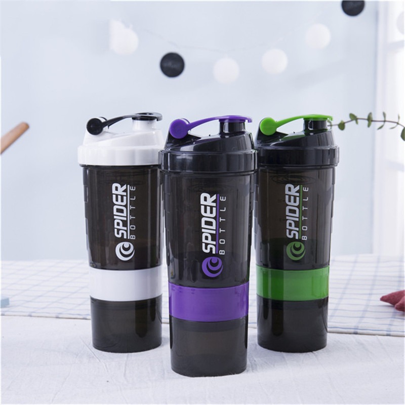 Protein Powder Shaker Bottle 500ml Whey Protein Mixing Bottle Fitness Gym Shaker Portable Leakproof Botella Mezclador