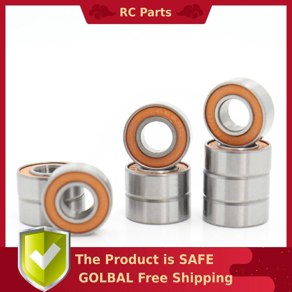 686RS Bearing 10 PCS 6x13x5 mm ABEC-3 Hobby Electric RC Car Truck 686 RS 2RS Ball Bearings 686-2RS Orange Sealed image