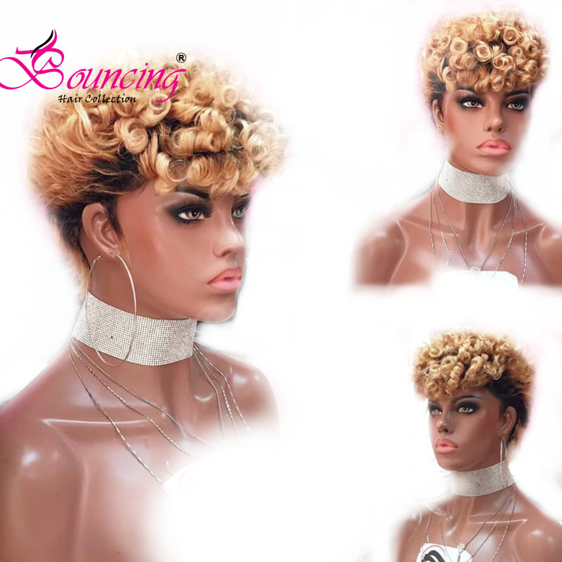 Bouncing Short Cut Pixie Wigs Lace Frontal Human Hair Wigs Brazilian Remy 13x4 Lace Wig Customized 1B/27 Cury Wig 150Density Wig