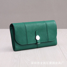 Genuine Leather Cow Leather Women Long Purse Round Button Coin Pocket