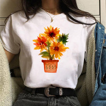 Plant Lover Chat with Therapist Girls T-Shirts Cute Cartoon Potted Plants Sunflower Tops Women White O-Neck Graphic Tee