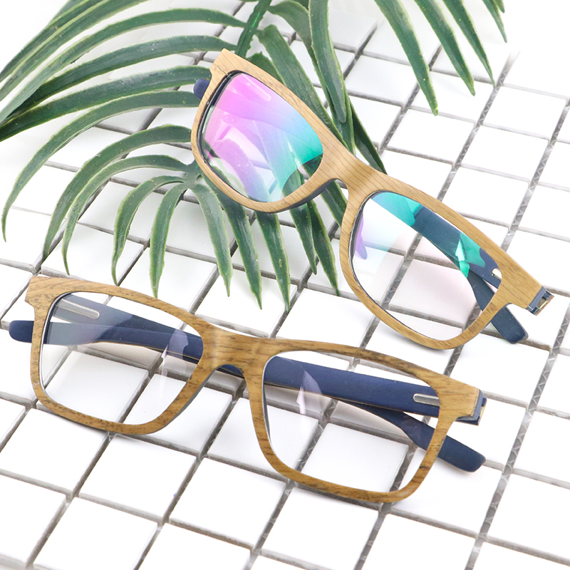 Dropshipping Rectangle Transparent Clear Lens Protector Non Prescription Oak Wood Laminated Fake Eye Glasses Frame for Men