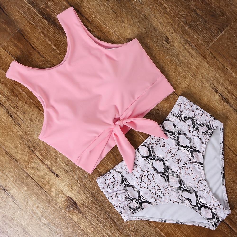 High Waist Bikini Swimwear Women Floral Swimsuit Leopard Women High Neck Bikini Push Up Plus Size Swimwear Striped Bathing Suit 2