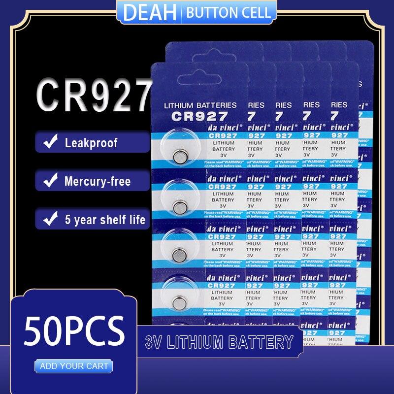 50 pçs/lote nova bateria de lítio cr927 3 v dl927 br927 kcr927 cr 927 botão baterias de célula para relógio brinquedo computador controle calculadora