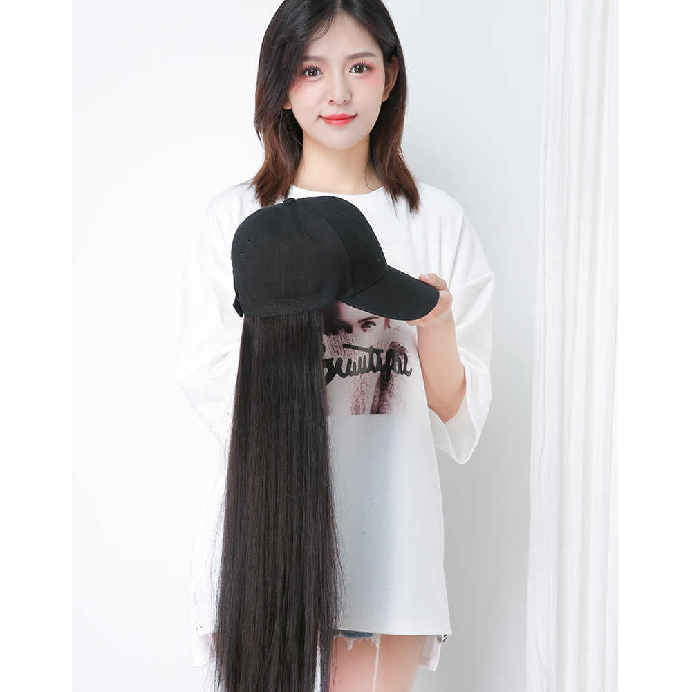 New Hot Sale Women girl applies Baseball Cap with Synthetic Hair Extension Long Hair Wig Hat Natural Fashion Portable BV789