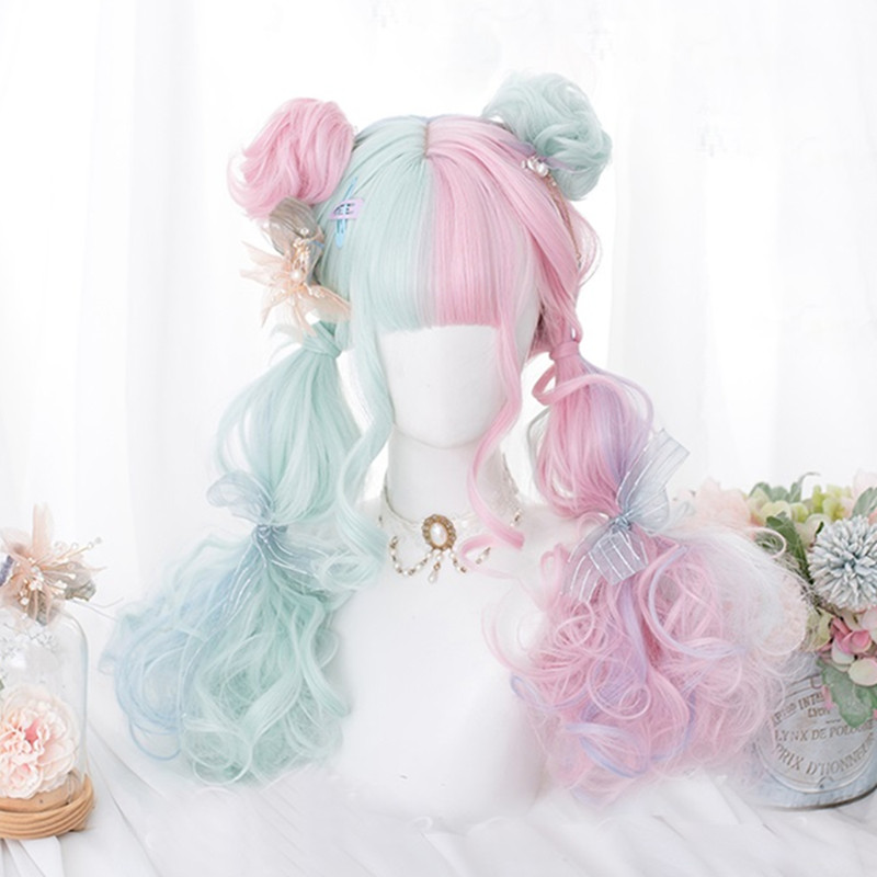 Cosplaysalon 57CM Lolita Makaron Color Pink Mixed Mint Green Blue Ombre Long Curly Bangs Cute Synthetic Buns Cosplay Wig