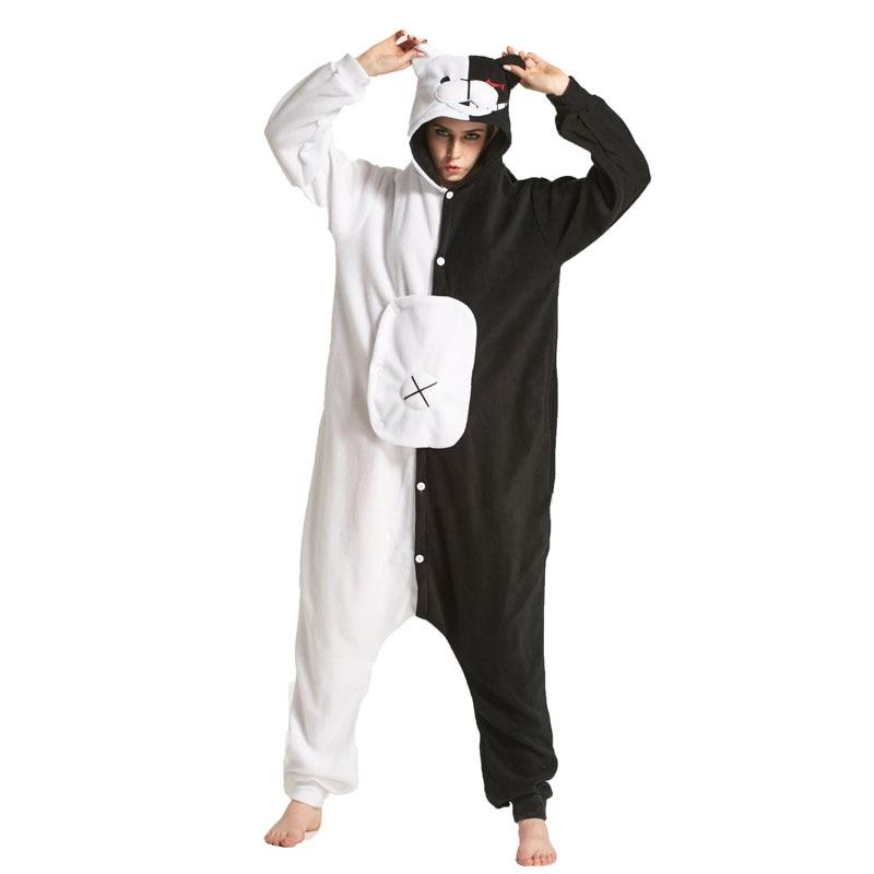YESKIGU Monokuma Kigurumis Adult Onesie Anime Bear Jumpsuit Pajama Black White Animal Outfit Women Men Party Suit Winter Overall