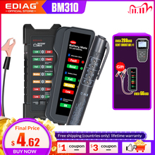 EDIAG probador de batería de coche BM310 BM410, probador de líquido de frenos, 12V, 24V, Digital, 6 /7LED, pantalla OBDII, alta calidad, 2020