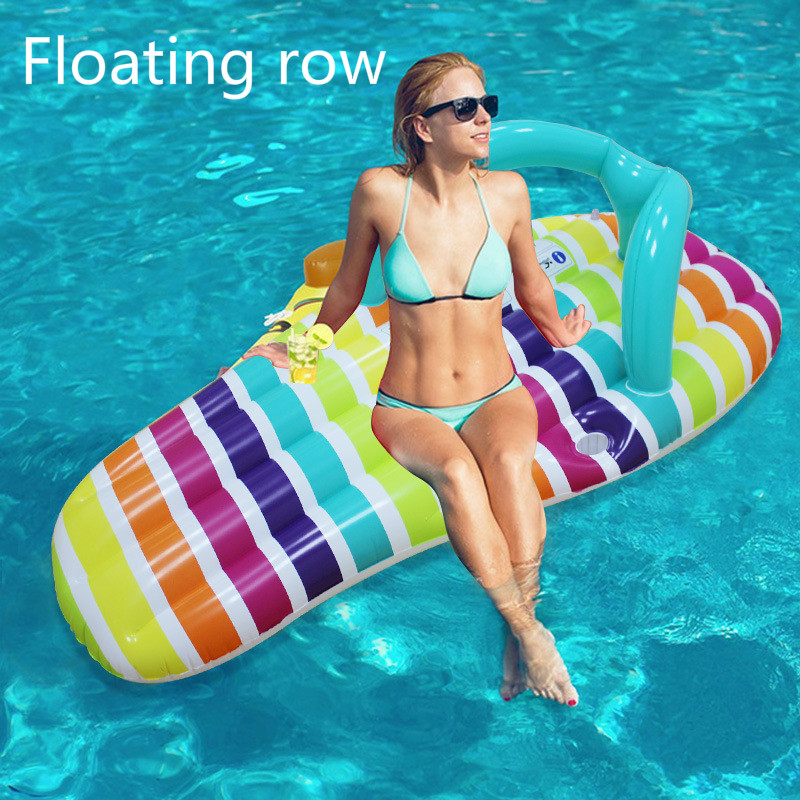Summer Water Creative Slippers Floating Row Floating Bed Fashion Slippers Swimming Circle Air Cushion Swimming Equipment