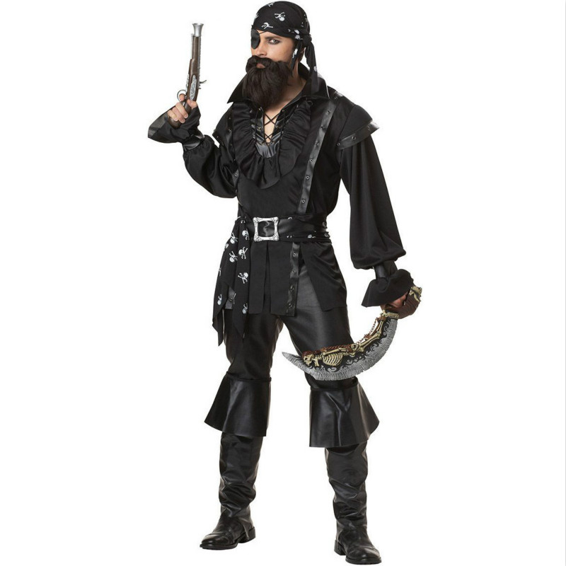 1 ensemble/lot homme Pirates Costume Cosplay hommes Robin Pirate cyclope Costume 8 pièces ensemble Performance vêtements fantaisie carnaval C98662AD