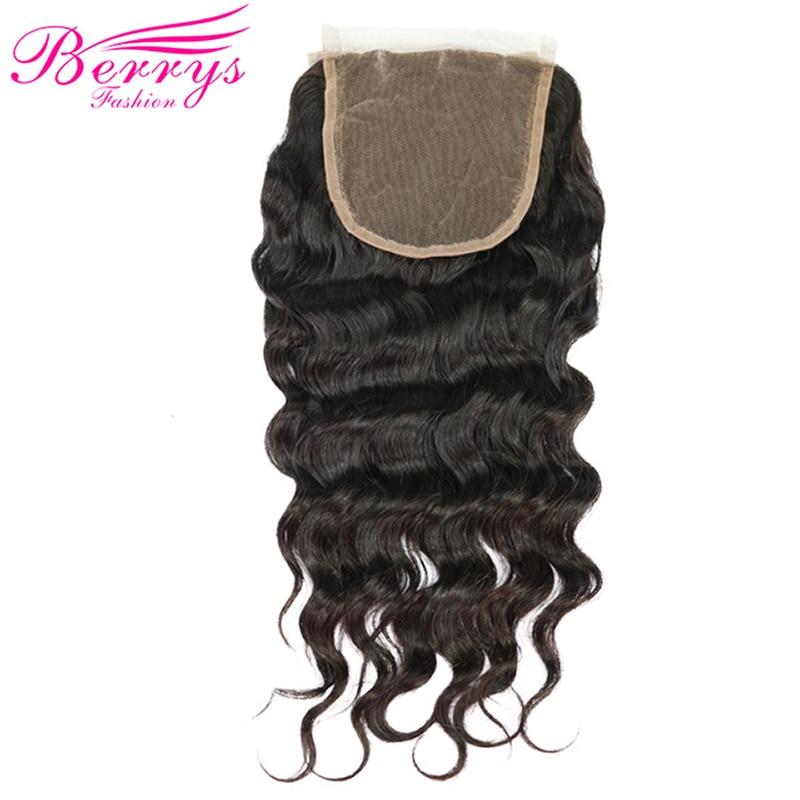 Berrys Fashion Peruvian Virgin Hair Loose Wave Lace Closure 4 4 Human Hair Free Part