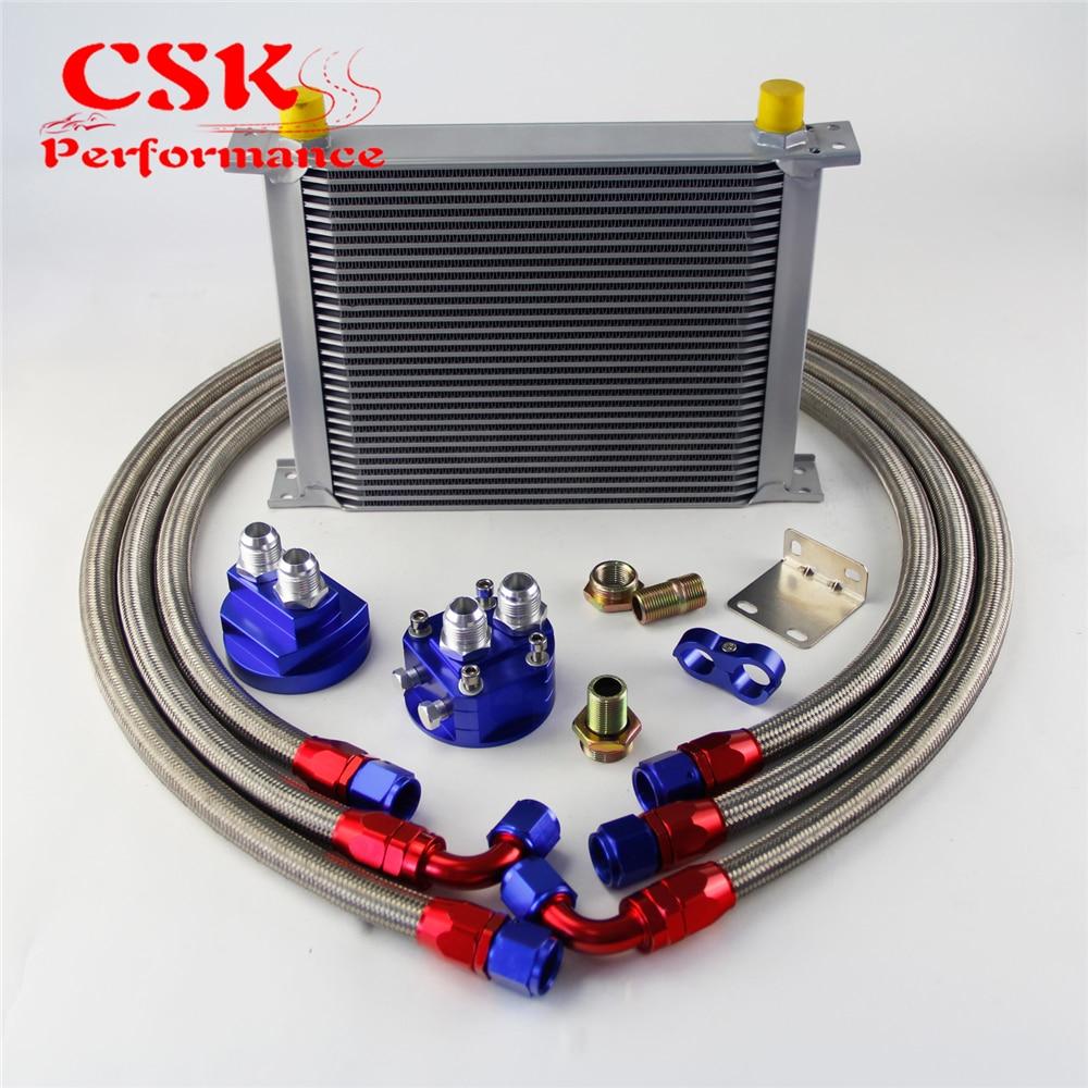 Oil Filter Adapter Hose End Black 19 Row AN10-10AN Universal Aluminum Engine Transmission Oil Cooler Kit