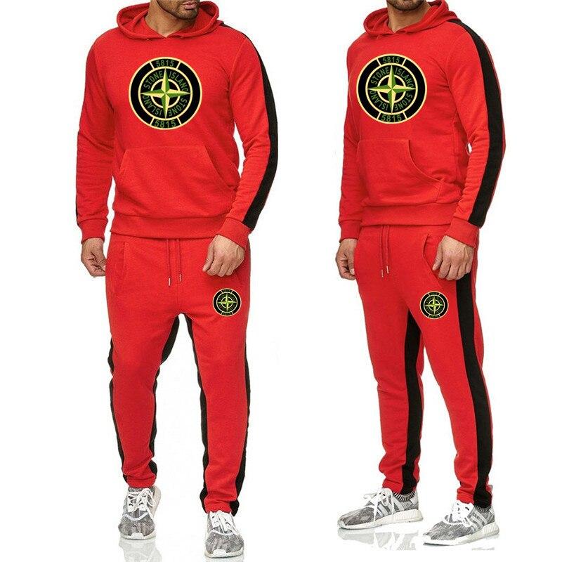 2019 New Printed Hoodie Suit Men's Sweatshirt Suit Hoodie
