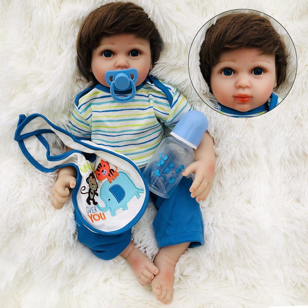 NPK New Boneca Reborn 20inches Soft Silicone Vinyl Dolls 50cm Baby Doll Newborn Lifelike Bebe