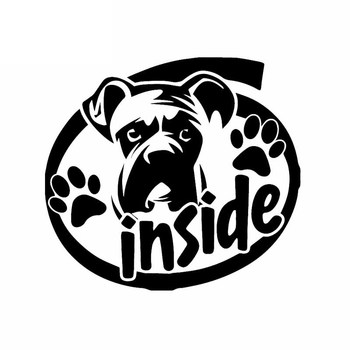 Car Stickers Funny I Love My Boxer PVC Car Stickers Dog Head Pattern Car Decoration Stickers Creative Black/white, 16cm*15cm image