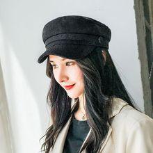 Осенние Восьмиугольные шляпы для женщин плоская бейсбольная Кепка в стиле милитари Твердые крышки Женские повседневные береты