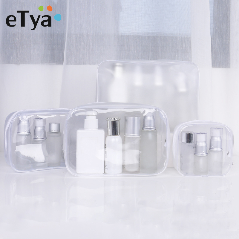 ETya Transparent Cosmetic Bag Women Make Up Case Travel Waterproof Zipper Makeup Beauty Wash Organizer Toiletry Storage Kit Bags