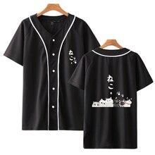 Cartoon Cat Top Quality Fashion Baseball T-shirts W