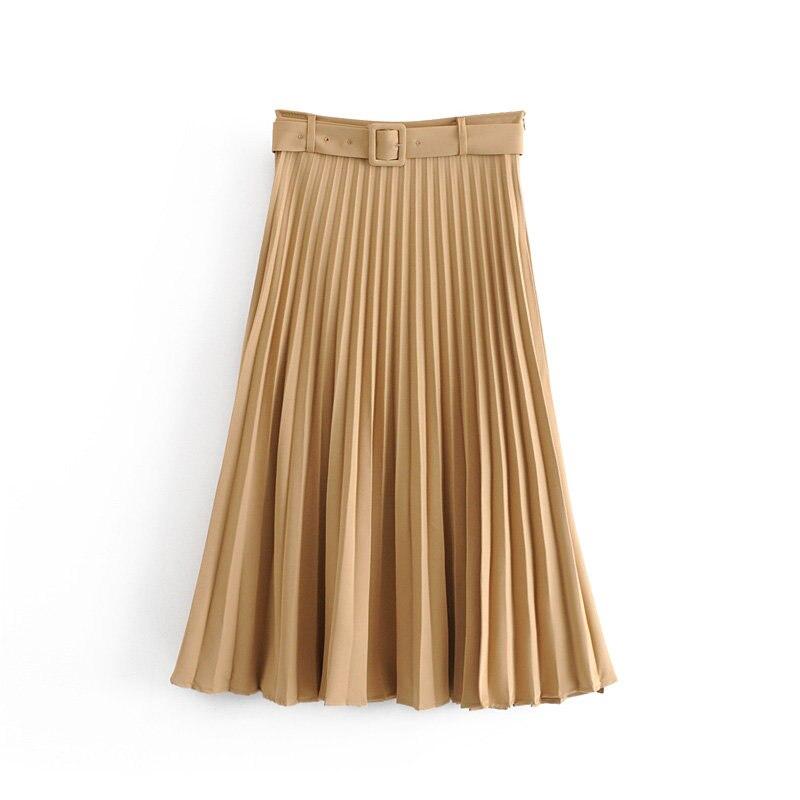 New Women Fashion Belt Solid Color Pleated Midi Skirt Faldas Mujer Ladies Side Zipper Vestidos Retro Casual Slim Skirts QUN481
