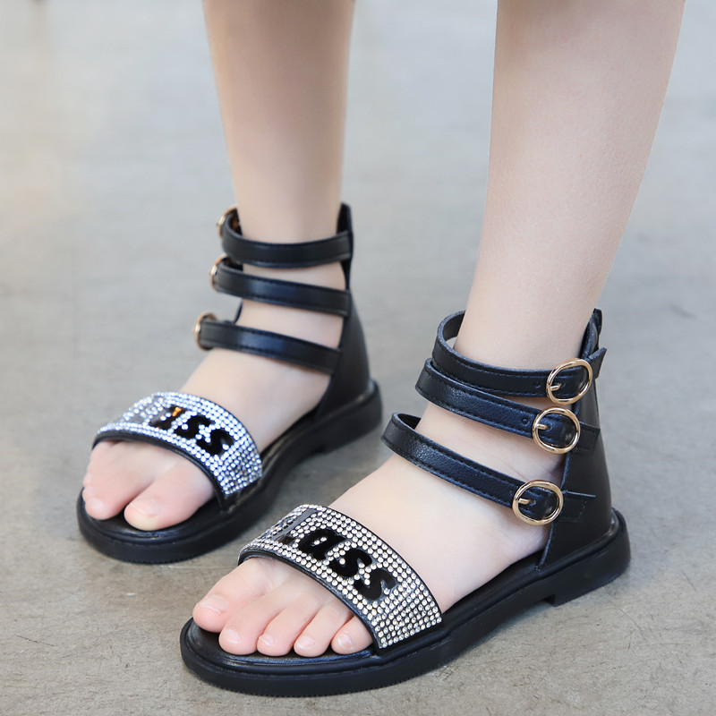 2020 Summer Girls Sandals Children Sandals Princess Sweet Medium Big Girl Gladiator Roman Sandals Rhinestone Crystal Bling 26-36