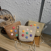 Autumn Winter NEW flower single shoulder bag grass braid woven straw bucket Woman's bags ethnic wind bag cossbody-handbag female benviched 2018 autumn winter single shoulder bag slash embroidered plum blossom literatur nylon red bag original bucket bag c145