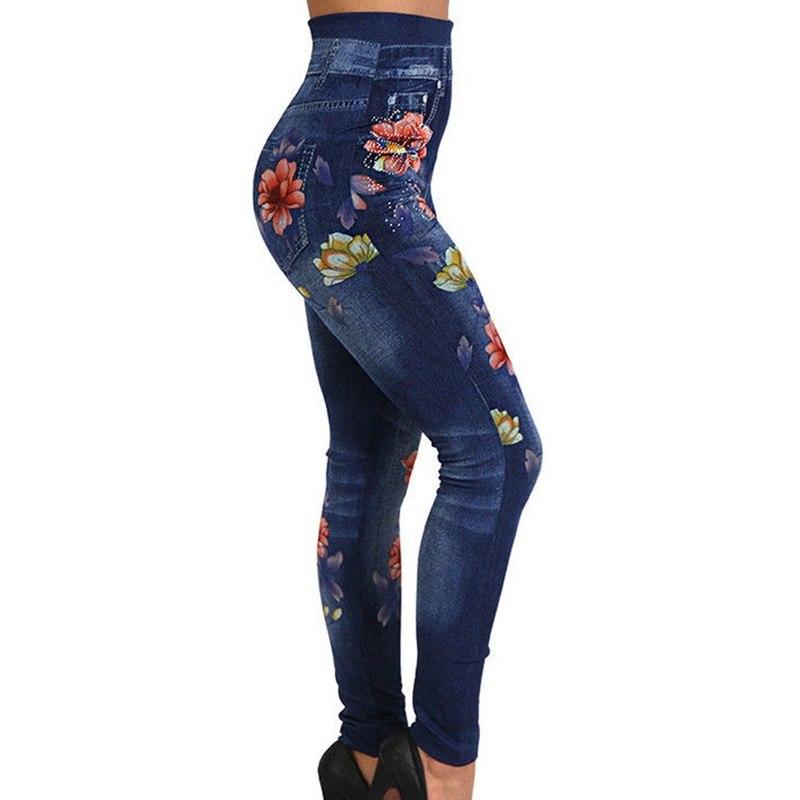 2020 New High Waisted Denim Jeans Leggings Women Ethnic Floral Printed High Waist Rose Print Pencil Pants Casual Leggings