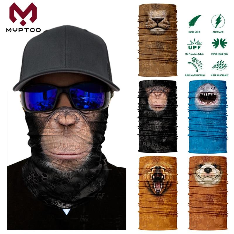 Magic 3D Seamless Face Mask Animal Dog Cat Bandana Windproof Motorcycle Moto Riding Neck Gaiter Shield Tube Scarf Balaclava Men