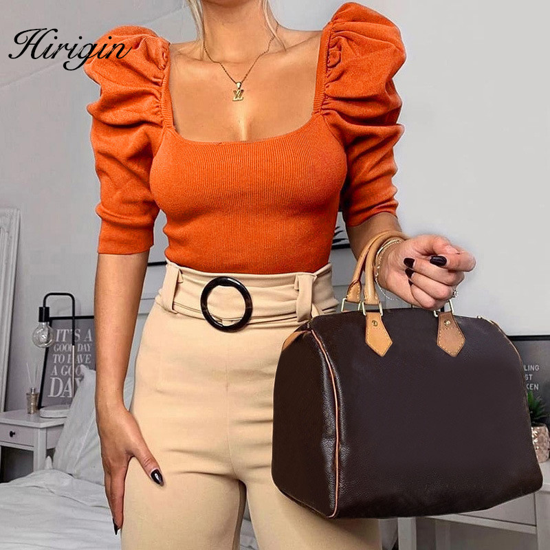 Spring Summer Puff Sleeve Casual Women Shirts Square Collar Half Sleeve Knitted Ladies Tops Sexy White Crop Top Shirt