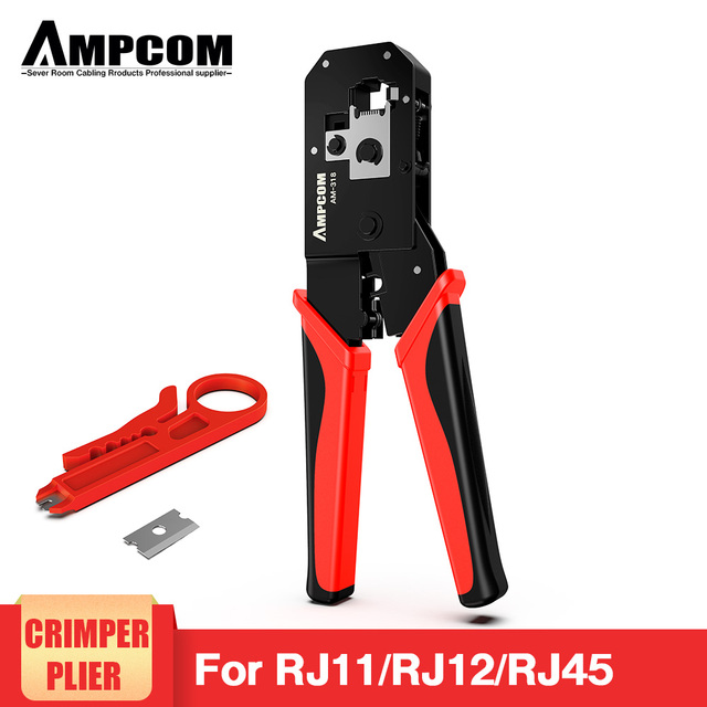 AMPCOM RJ45 Crimping Tool Ethernet Network LAN Cable Crimper Cutter Stripper Plier Modular 8P RJ45 and 6P RJ12 RJ11 1