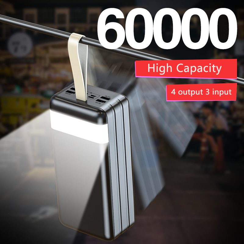Alta capacidade 60000 mah carga rápida power bank 60000 mah powerbank portátil carregador de bateria externa para iphone xiaomi mi huawei