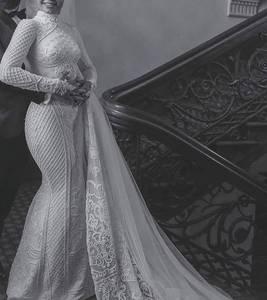 Image 3 - 2020 Theo Hồi Giáo Nàng Tiên Cá Áo Váy Với Áo Voan Ren Appliques Đính Hạt Áo De Mariée Cổ Cao Vintage Cô Dâu Áo Cưới