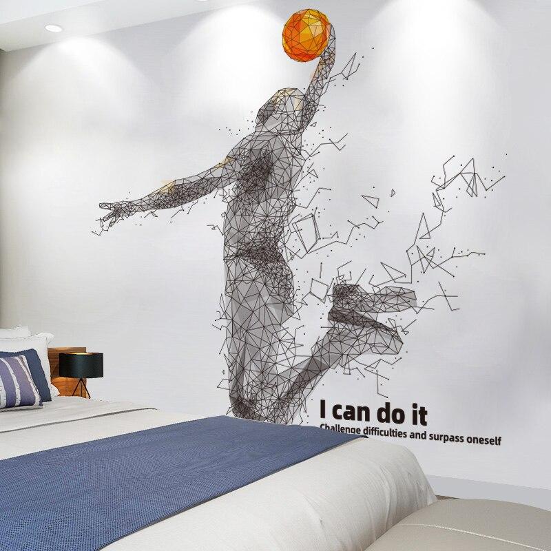 Фамилией баскетболиста и цифрой наклейки на стену DIY мультфильм Sportsman настенные наклейки для детской комнаты детский тренажерный зал аксес...