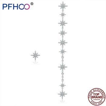 PFHOO Asymmetric Long Tassel Star Earrings For Women Sterling Silver 925 Jewelry Shiny CZ Zircon Drop Earrings Engagement Gift star cz drop earrings