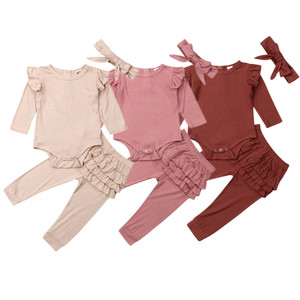 2019 Winter Autumn Newborn Baby Girls Clothes Sets Cotton Ruffle Cute Toddler Bodysuit Frill Legging 2Pcs Solid Casual Outfits(China)