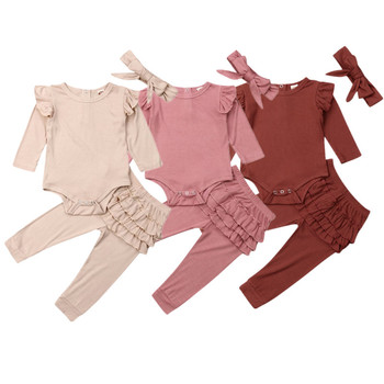 2019 Winter Autumn Newborn Baby Girls Clothes Sets Cotton Ruffle Cute Toddler Bodysuit Frill Legging 2Pcs Solid Casual Outfits autumn thanksgiving fall winter baby girls brown orange turkey outfits polka dot pant clothes ruffle boutique match accessories