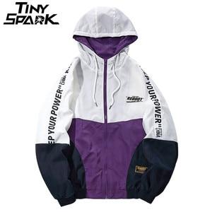 Image 3 - Hip Hop Mens Hooded Windbreaker Jacket Autumn 2019 Casual Vintage Color Block Loose Track Hoodie Jacket Coats Streetwear HipHop