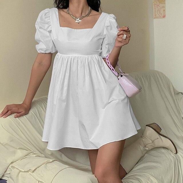 NEDEINS Women Summer Dress Summer Fashion White Elegant Puff Sleeve Backless Party Beach Dress Vacation Casual Mini Dress 5