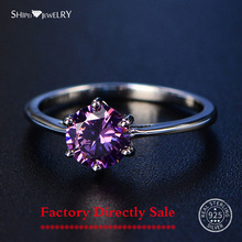 Shipei Solid 100% 925 Sterling Silver Women's Amethyst Rings Gemstone Fine Jewelry Ring Party Anniversary Gifts Big Size 4-12 leige jewelry anniversary rings natural green amethyst rings round cut gemstone solid 925 sterling silver elegant ring for women