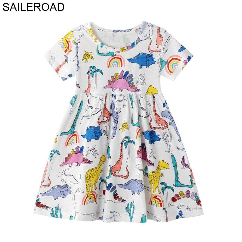 SAILEROAD Dinosaur Print Girls Summer Dress Cotton Animal Applique Baby Kids Short Sleeve Dresses Little Girls Clothes Vestidos